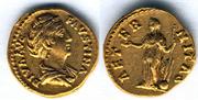 Aureo de Faustina I. AETERNITAS.  Fortuna de pie a izq. Ceca Roma. Au5