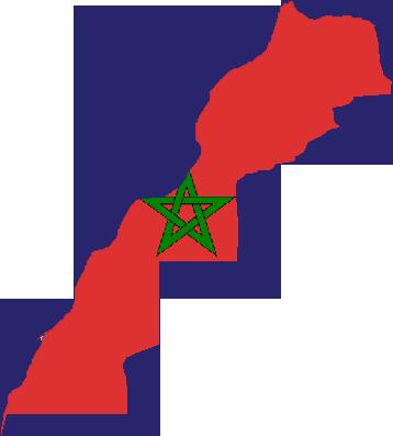 القوة العسكرية المغاربية - الجزائر +المغرب + تونس + موريطانيا + ليبيا - لو تحقق حلف عسكري للإتحاد المغاربي لصنع معادلة صعبة للعالم أجمع كم سيكون حجم قوة الحلف ! Morocco_Flag_Map_(including_Western_Sahara)