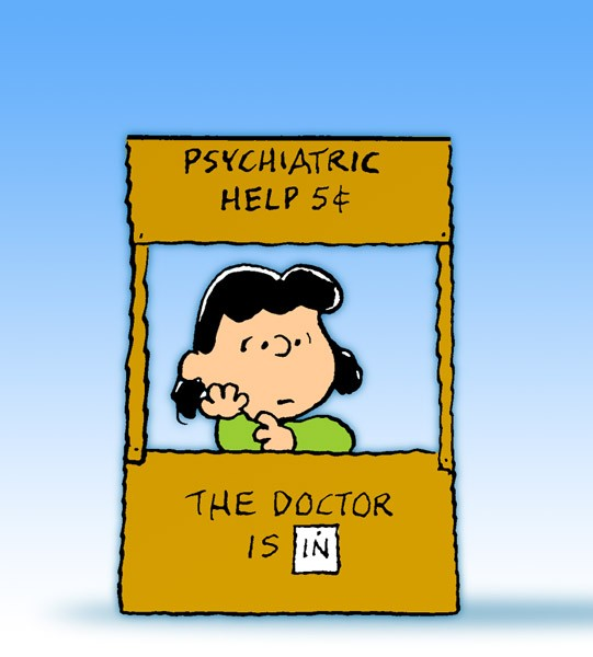 Psychiatric help 5 cent Lucy-doctor-stand
