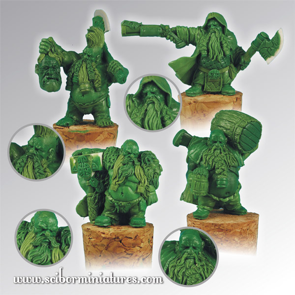 Scibor's Monstrous Miniatures Dwarves_set_2011_greens_01