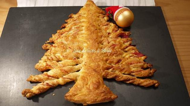 Repas de Noël  Mon-sapin-de-noel-feuillete-jambon-fromage-14904892