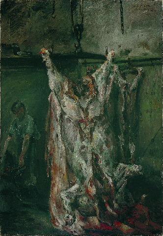 Boeufs écorchés (crucifixions détournées) Lovis-corinth-le-boeuf-abattu-a-labattoir-1905