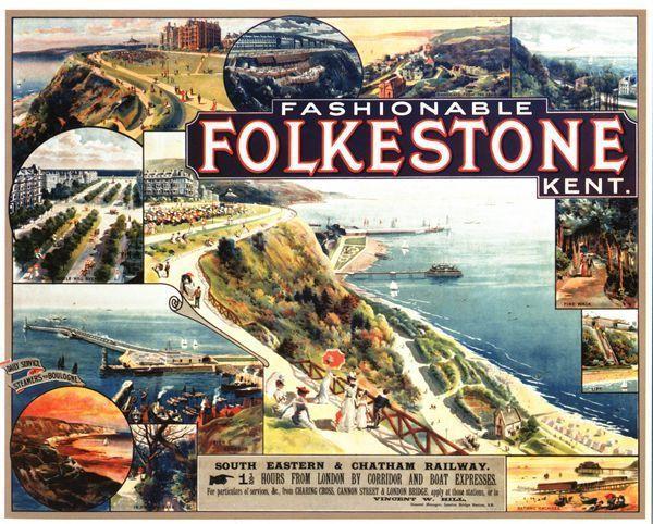 El Torneo de Folkestone | Libre Vintage-secr-folkestone-kent-railway-poster-a3-a2-a1-print-23066-p