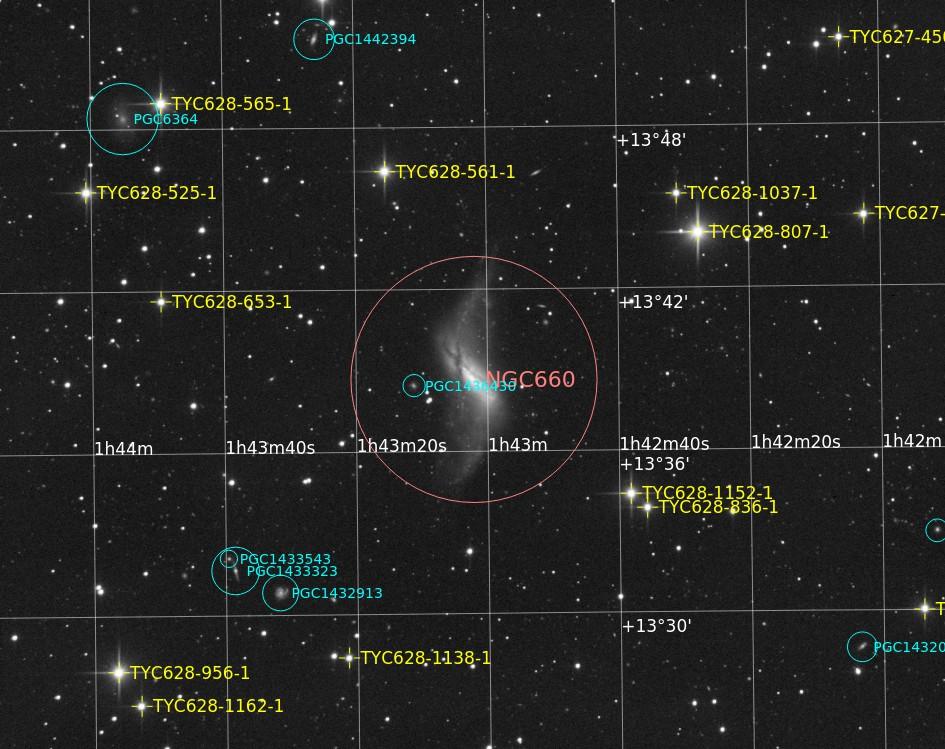 Enfin 1° partie suite au post de NGC2244 : NGC660 N/B NGC660_Annotated