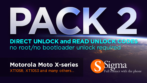 Sigma Software v.2.09.01,Sigma PACK 2 Update MotoX