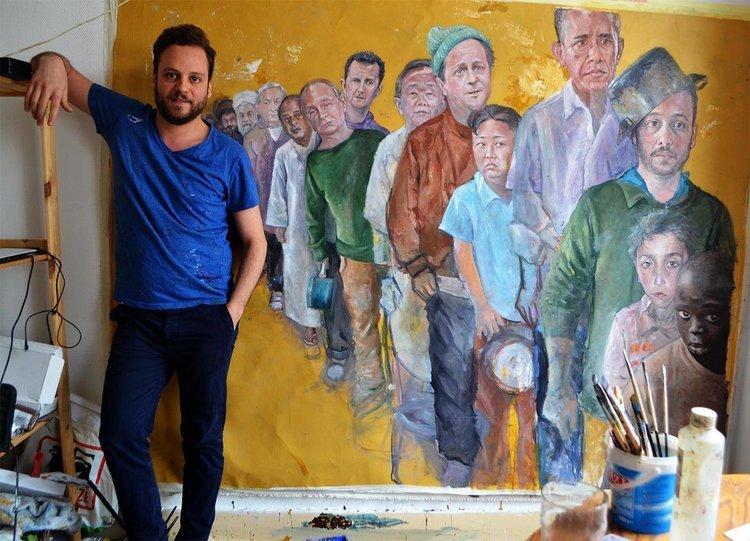 بالصور والفيديو ..فنان سوري يجعل زعماء العالم لاجئين 2047264551