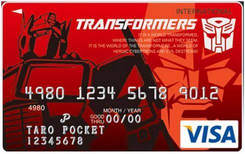 Produits dérivés TF de l'année: Circuit de Train/Voiture, 45 tours, Jeu de société, Espadrilles, Calendrier, Porte-clé, Tasse de café, etc 17-transformer-credit-card