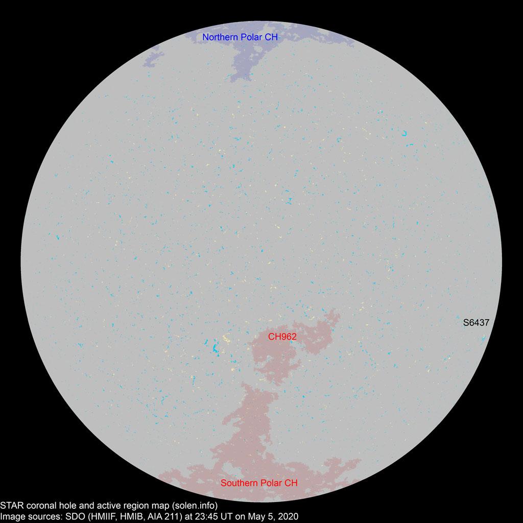 Posible llegada viento solar agujero coronal 27 de Mayo Charmap