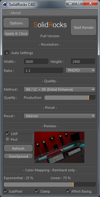 SolidRocks SRc4d_Main_interface