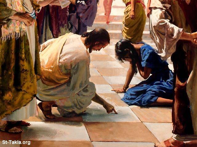 صور من حياة المسيح يارب تعجبكم Www-St-Takla-org___Jesus-with-Sinned-Woman-05