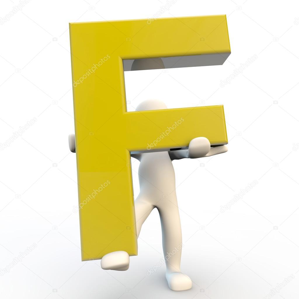 Oslikaj slova  azbuke Depositphotos_12361723-3D-Human-character-holding-yellow-letter-F