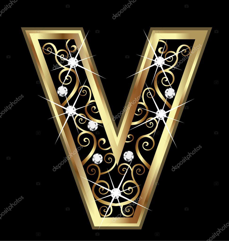 Oslikaj slova  azbuke - Page 13 Depositphotos_15052017-V-gold-letter-with-swirly-ornaments
