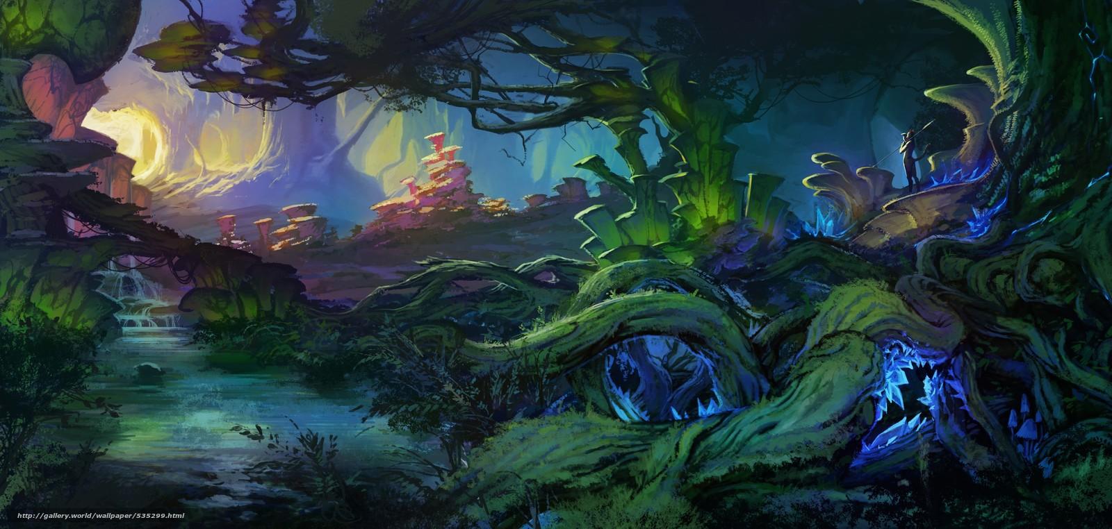Un mundo de fantasia 535299_chascha_fantasticheskiy_mir_derevya_ruchey_peyzaj__4663x2221_(www.GdeFon.ru)