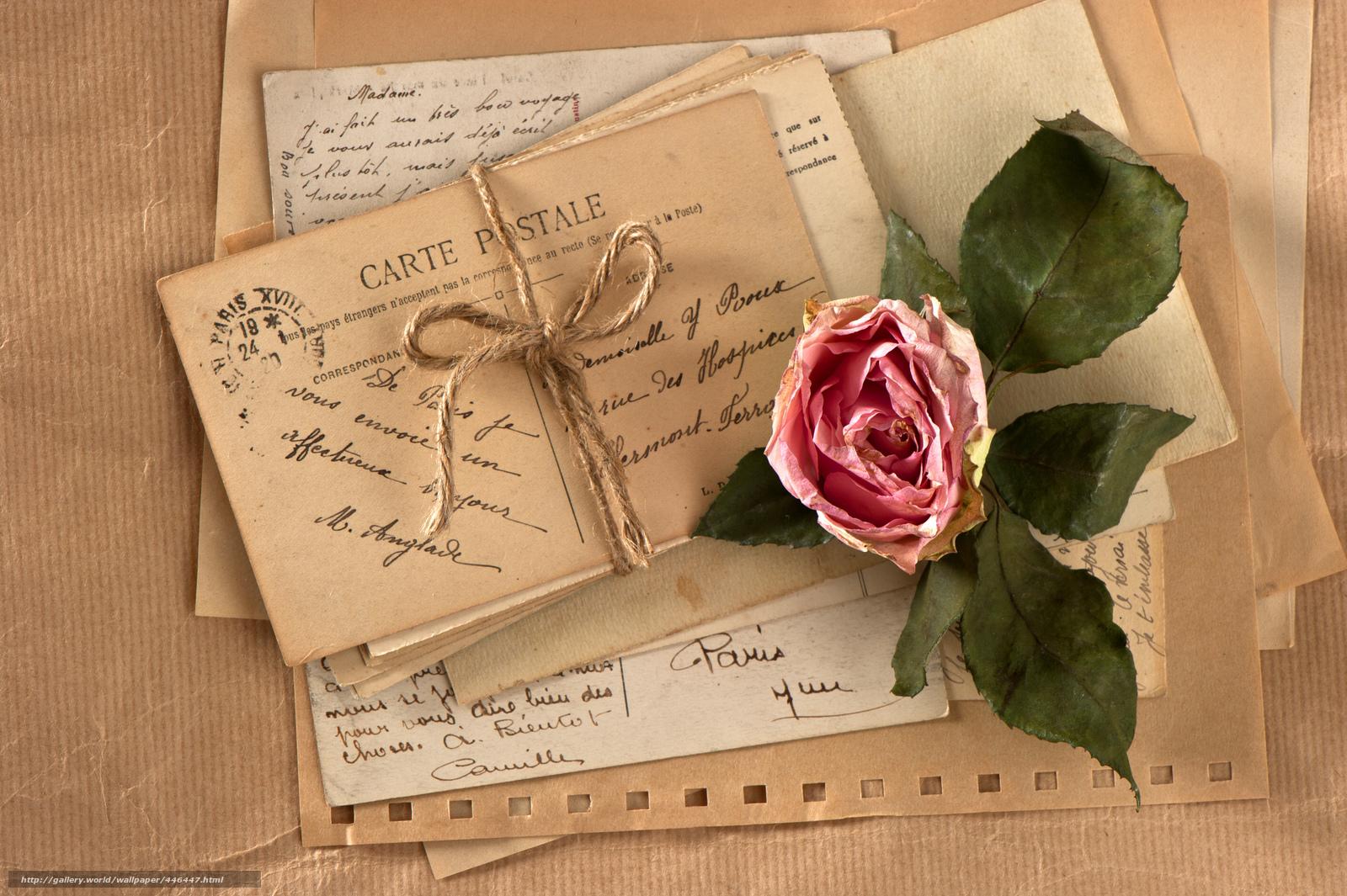 Pisem ti pismo... 446447_vintazh_retro_cvetok_roza_veryovka_otkrytki_pisma_4256x2832