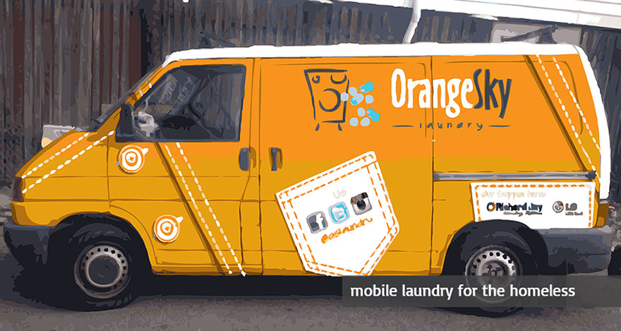 Two Friends Turned Their Van Into A Mobile Laundromat To Wash Clothes For The Homeless Homeless-moving-laundromat-orange-sky-laundry-australia-2