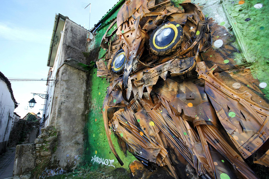 Arthur Bordalo - Bordalo II Recycled-owl-sculpture-street-art-owl-eyes-artur-bordalo-6