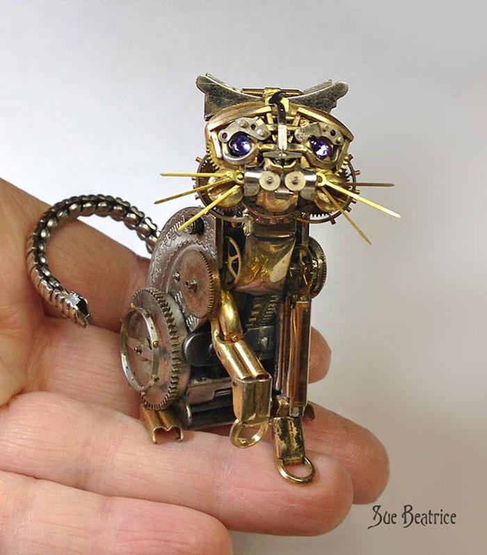 Spectacular Tiny Steampunk Sculptures Made Of Recycled Watches Recycled-watch-parts-sculptures-vintage-antique-susan-beatrice-14