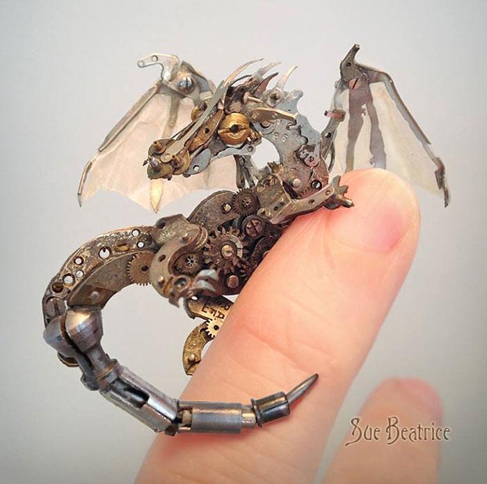 Spectacular Tiny Steampunk Sculptures Made Of Recycled Watches Recycled-watch-parts-sculptures-vintage-antique-susan-beatrice-25
