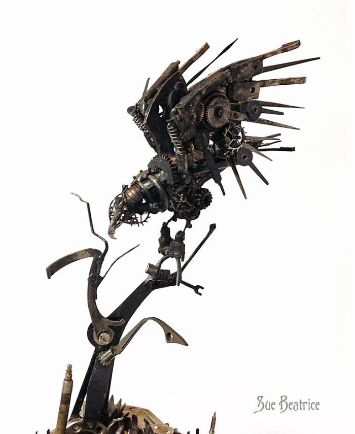 Spectacular Tiny Steampunk Sculptures Made Of Recycled Watches Recycled-watch-parts-sculptures-vintage-antique-susan-beatrice-46