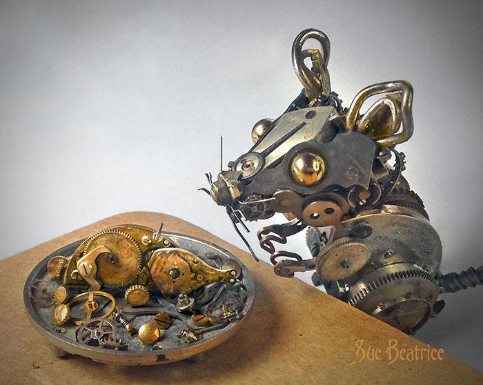 Spectacular Tiny Steampunk Sculptures Made Of Recycled Watches Recycled-watch-parts-sculptures-vintage-antique-susan-beatrice-9