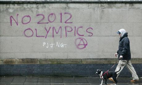 Iain Sinclair: London 2012 Olympics development project provokes Welsh psychogeographer's rage Anti-Olympic-graffiti-007