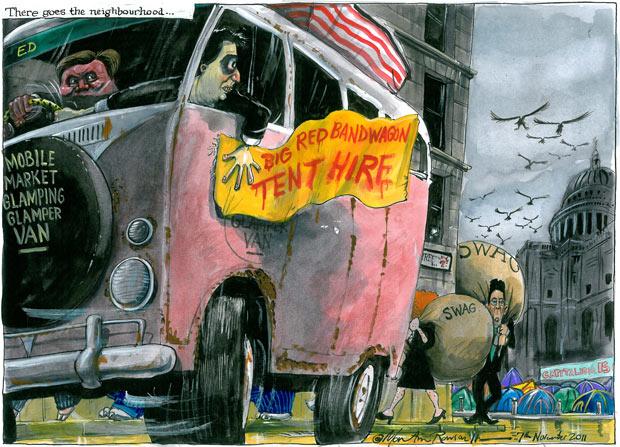 God vs Mammon: The St Paul's anti-capitalist protest camp Martin-Rowson-cartoon-06.-002