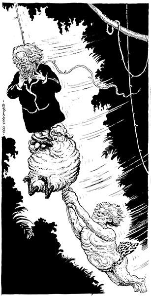 Cartoonist Steve Bell Thatcher-Heseltine--Howe--010
