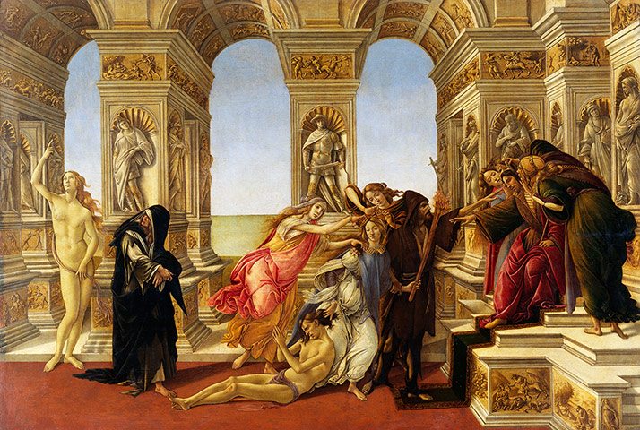 Paintings that look interesting if you're on mescalin Calumny-by-Botticelli-001