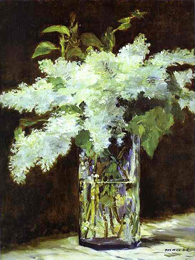 Flower paintings Lilacs-in-a-vase-by-Manet-005