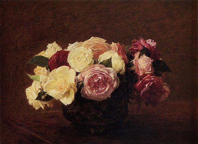 Flower paintings Roses-by-Henri-Fantin-Lat-006