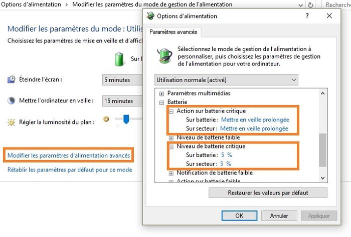 Comment Calibrer et economiser sa batterie sous windows / Cas de windows 10 Action-batterie-critique