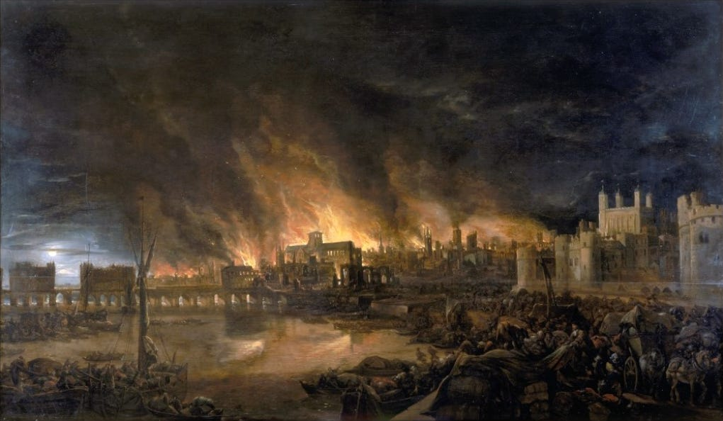 La evolución de Londres en 2.000 años  In-the-17th-century-london-suffered-from-the-great-plague-which-killed-about-100000-people-in-1666-the-great-fire-broke-out-it-took-the-city-a-decade-to-rebuild