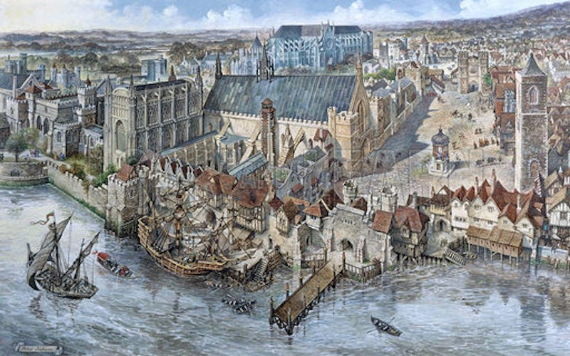 La evolución de Londres en 2.000 años  In-the-12th-century-the-english-royal-court-began-to-grow-in-size-and-sophistication-and-settled-in-westminster-a-neighborhood-in-central-london