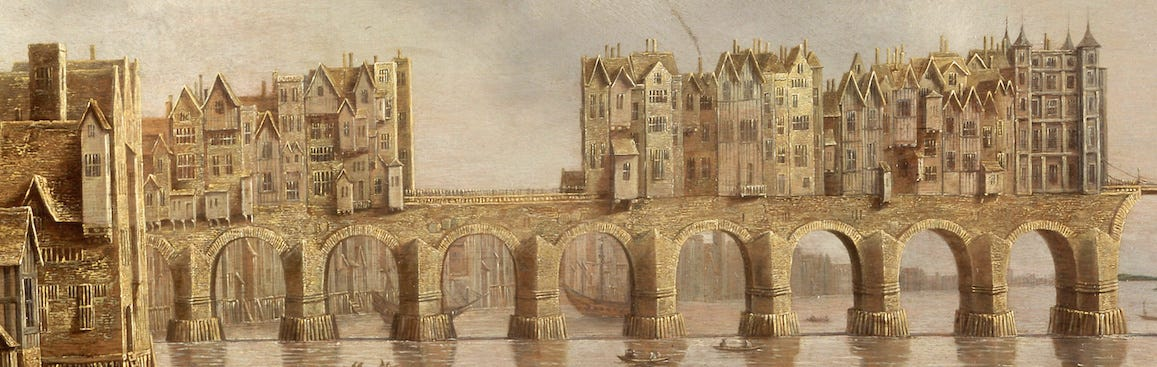 La evolución de Londres en 2.000 años  In-1176-king-henry-ii-commissioned-a-new-stone-bridge-finished-in-1284-the-original-london-bridge-would-stand-for-over-600-years-it-supported-homes-and-shops--which-weighed-down-its-arches-over-time
