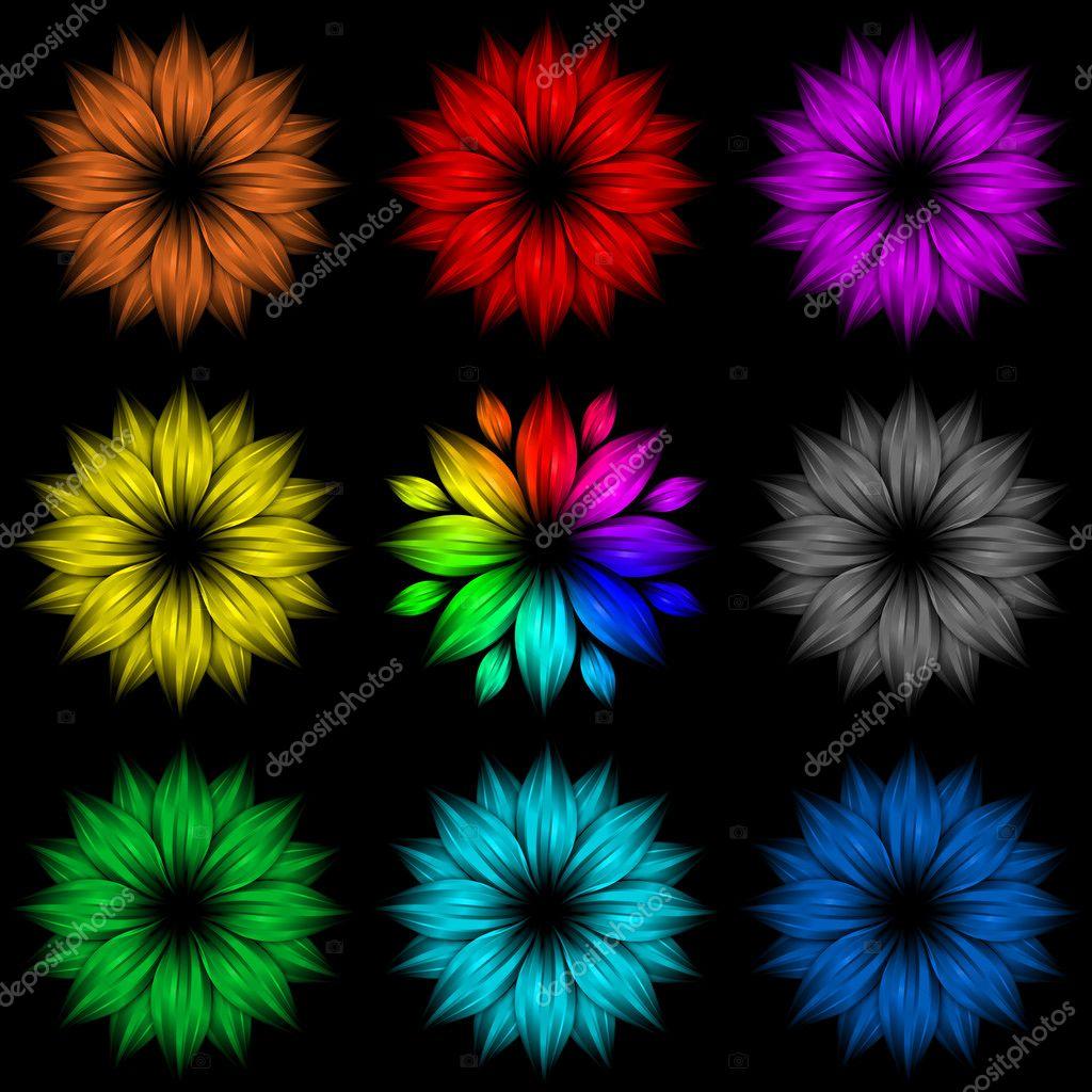خلفيات ملونه فلاشيه Depositphotos_4258304-Set-of-abstract-rainbow-flowers-on-black-background