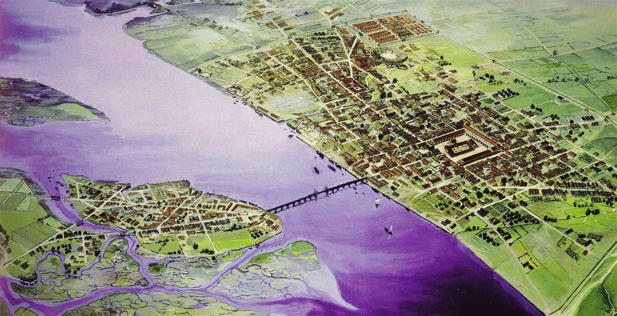 La evolución de Londres en 2.000 años  The-romans-founded-londinium-now-called-london-in-43-ad-this-artists-illustration-of-londinium-in-200-ad-shows-the-citys-first-bridge-over-the-thames-river