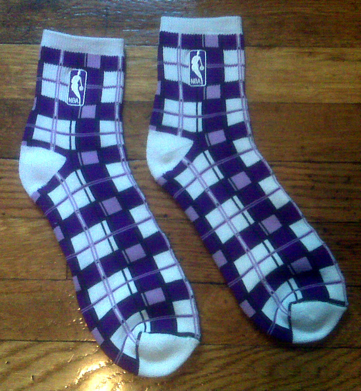 NBA socks PurplePlaidNBASocks002