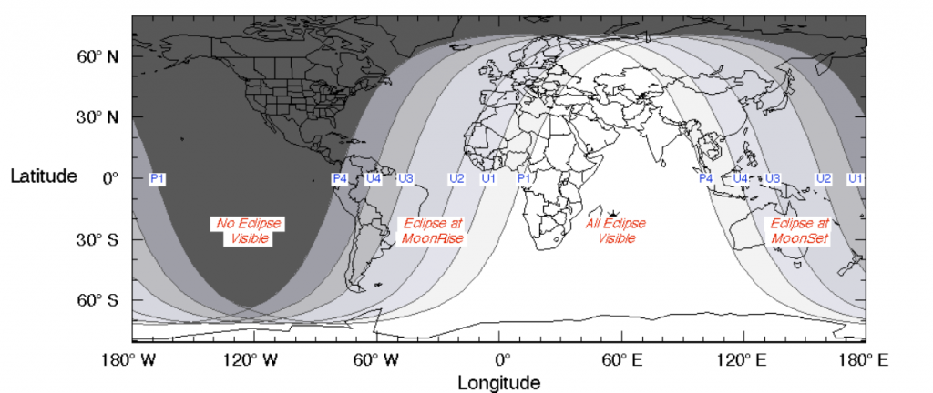 Friday, July 27th, is a big night for astronomy: Lunar eclipse and Martian conjunction July-27-2018-eclipse-visibility-map-1024x432