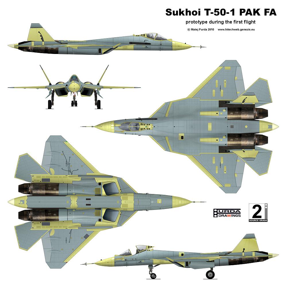تجارب مقاتلة جديدة متعددة الأغراض في روسيا Sukhoi_T-50-1_PAK_FA