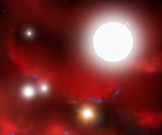 *Une formation énorme d'étoiles.... dans les limites des lois de la physique Premieres-etoiles-artiste