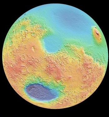 Un cratère d'impact d'une taille phénoménale découvert sur Mars Mars-irregularite-surface