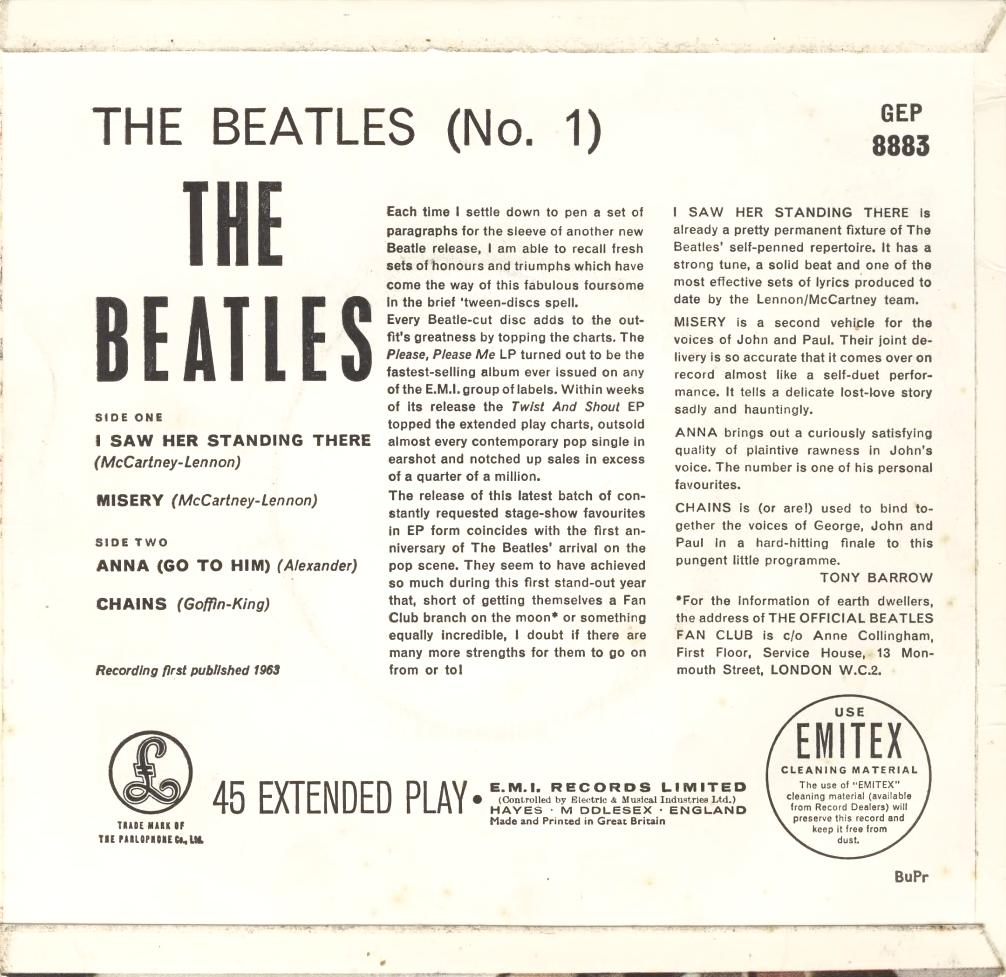 The Beatles No.1 GEP-8883-1st-BuPr-Sleeve-B