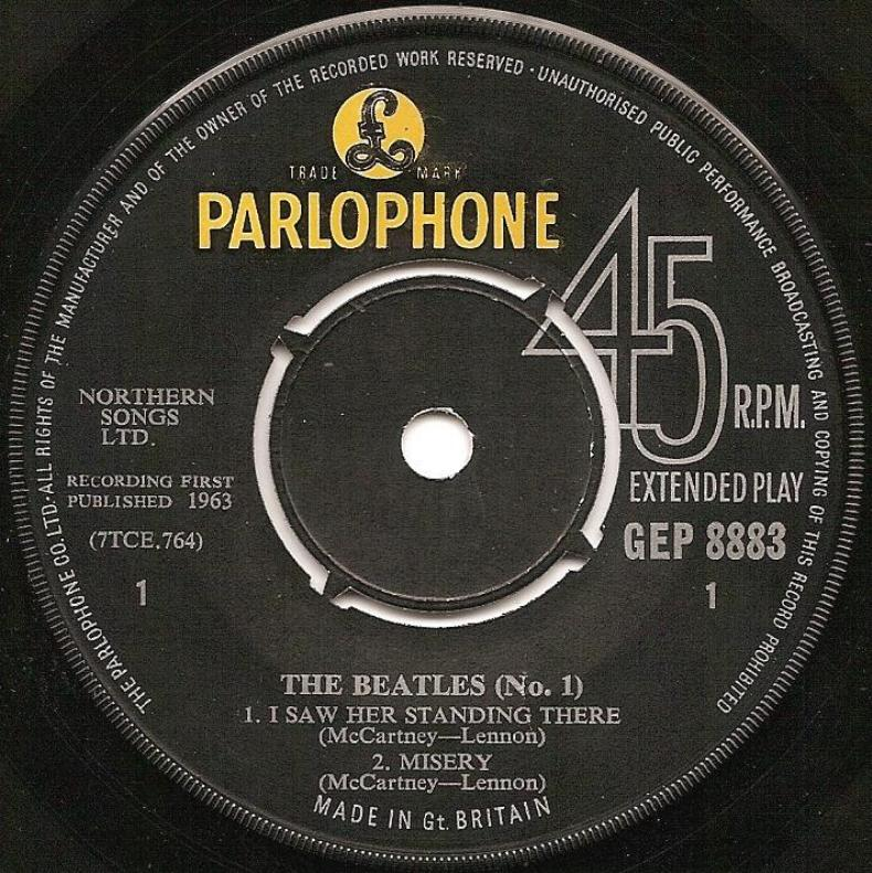 The Beatles No.1 GEP-8883-1st-cr-A
