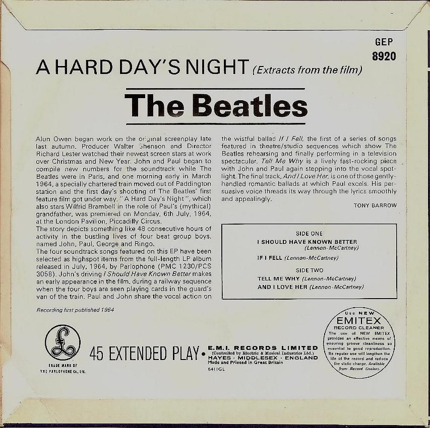 """Extract From The Film """"A Hard Day's Night"""" GEP-8920-1st-GL-Sleeve-B"""