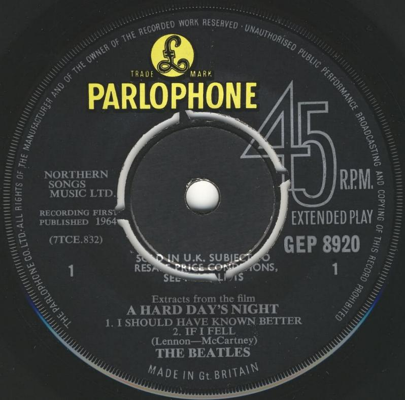 """Extract From The Film """"A Hard Day's Night"""" GEP-8920-1st-V1-A"""