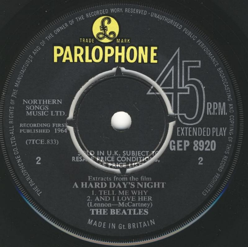 """Extract From The Film """"A Hard Day's Night"""" GEP-8920-1st-V1-B"""