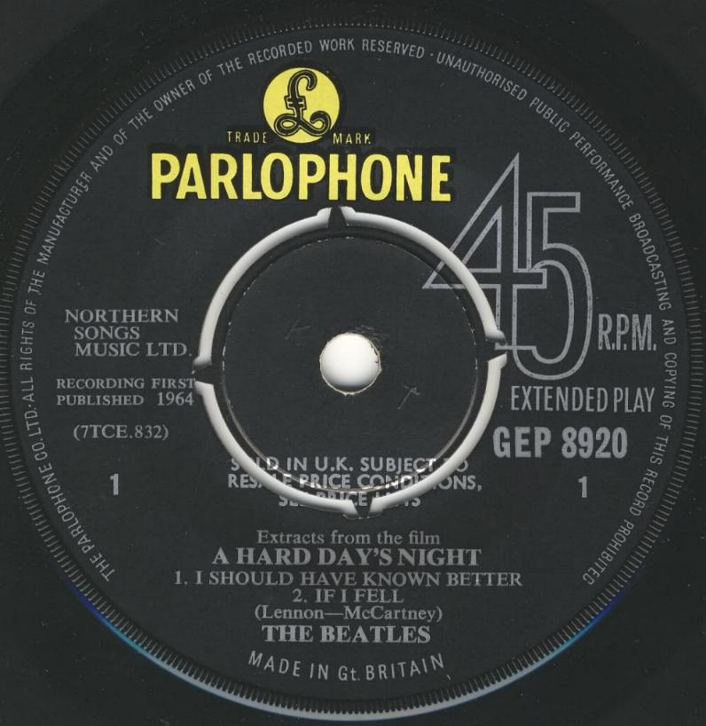 """Extract From The Film """"A Hard Day's Night"""" GEP-8920-1st-V2-A"""