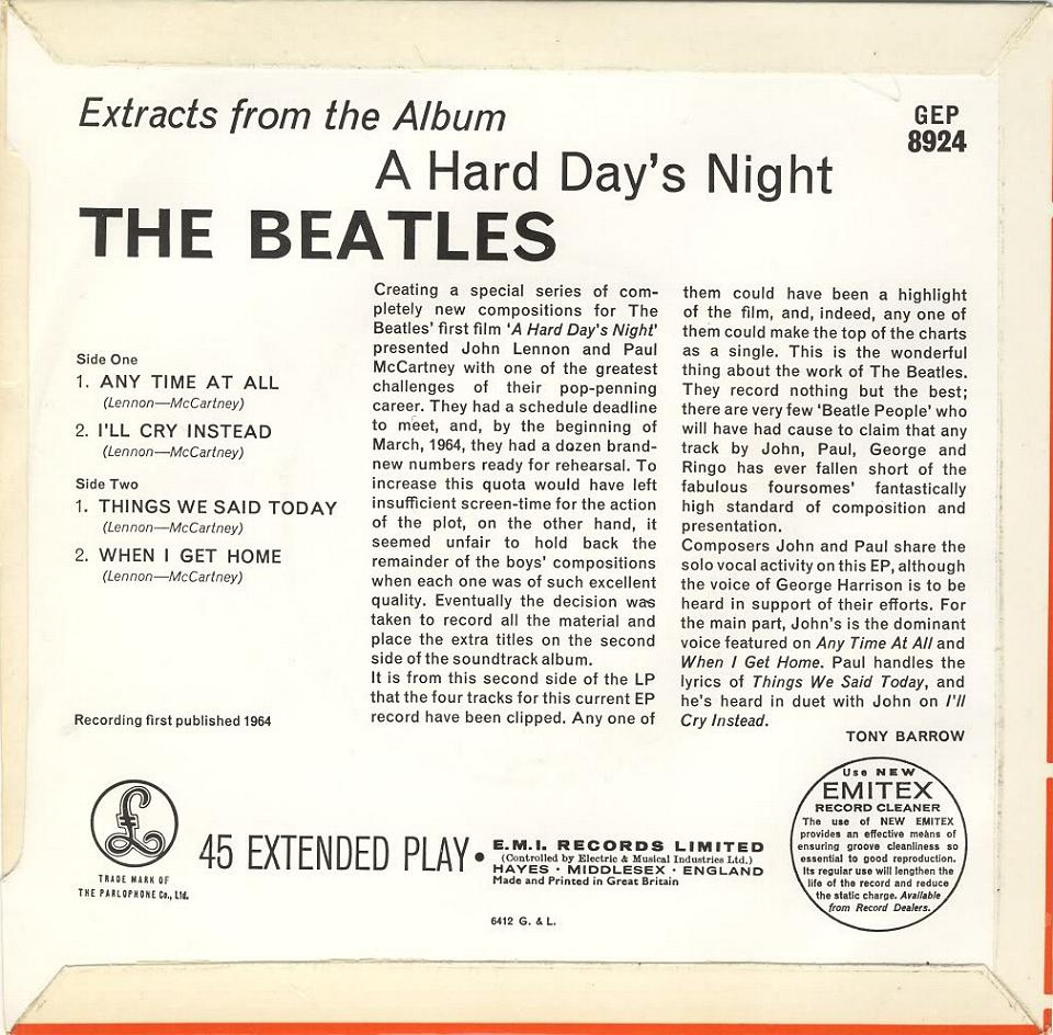 "Extract From The Album ""A Hard Day's Night"" GEP-8924-1st-Sleeve-B"