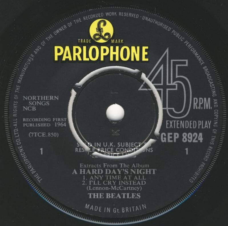 "Extract From The Album ""A Hard Day's Night"" GEP-8924-1st-V1-A"