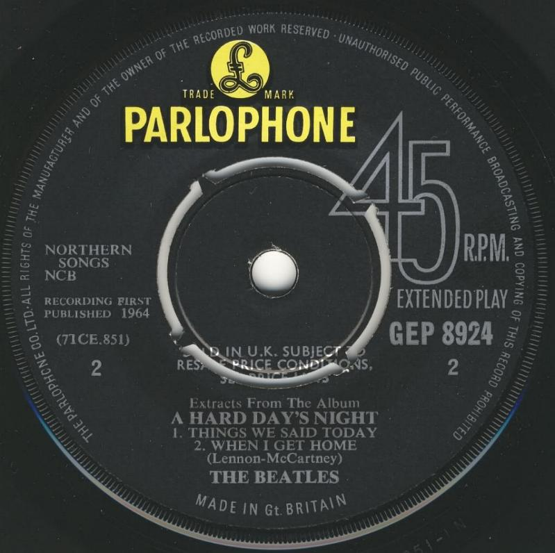 "Extract From The Album ""A Hard Day's Night"" GEP-8924-1st-V1-B"